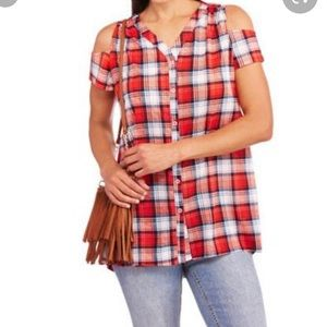 French Laundry 3x Plaid Cold Shoulder shirt